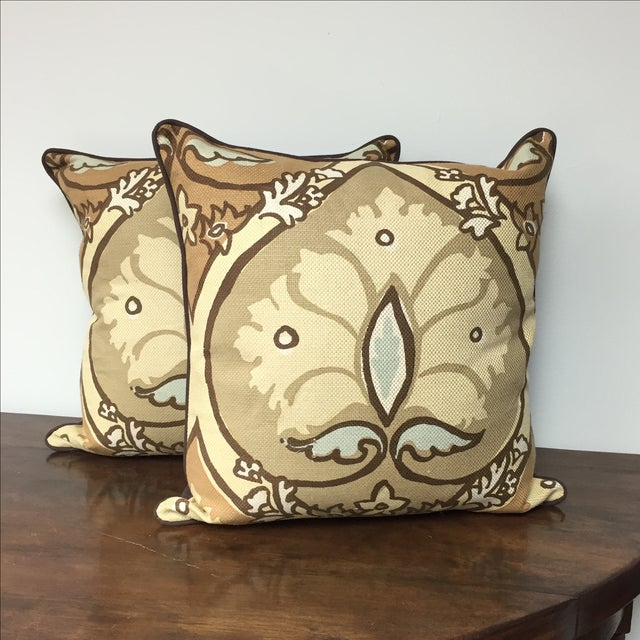 Dow blend throw pillows - printed face and chocolate brown back.