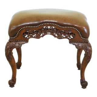 English Georgian Leather Seat Walnut Ottoman 493096 For Sale