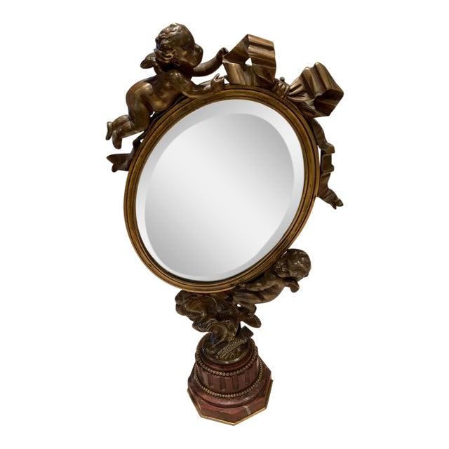 Art Nouveau Mirror With Bronze Putti Cherubs For Sale