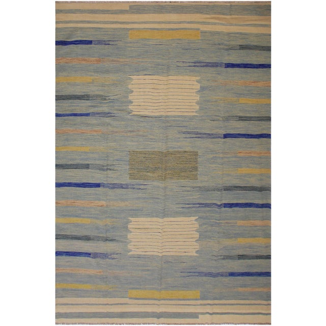 Cerulean Modern Bauhaus Shultz Blue Hand-Woven Kilim Wool Rug - 8′11″ × 12′3″ For Sale - Image 8 of 8