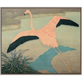 Flamingo Canvas - Hand Embellished For Sale