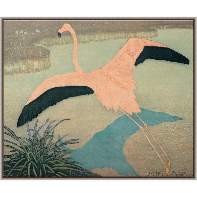 Flamingo Canvas - Hand Embellished For Sale