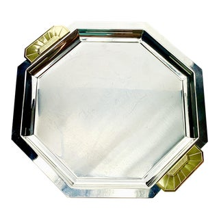 Vintage Jean Couzon Orfevre, Paris Art Deco Revival Tray Stainless Steel and Bronze Octagonal For Sale