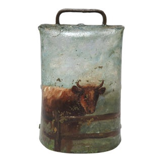 Antique American Hand Painted Folk Art Cow Bell For Sale