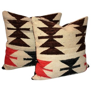 Pair of Early Geometric Navajo Pillows For Sale