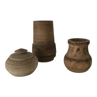 Scandinavian Collection of Wood Vases - Set of 3 For Sale