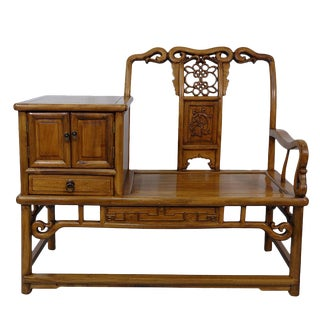 Vintage Chinese Carved Camphor Wood Telephone Table With Chair For Sale