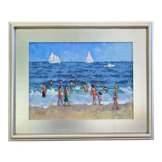 Summer Beach W/ Sailboats, Beach Goers & Puffy White Clouds by Tim Halpin For Sale