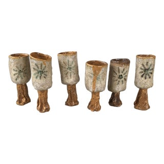 Vintage Set of French Studio Pottery Sunburst Goblet Glasses 6 For Sale