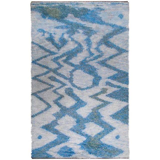 "White LARGE 115"" SWEDISH KNOTTED RYA CARPET, 1950S For Sale - Image 8 of 8"