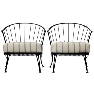 Vintage Mid Century Iron Woodard Lounge Chairs- A Pair For Sale