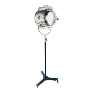 1940s Bardwell & McAlister Hollywood Fresnel Chromed Steel & Brass Lamp For Sale