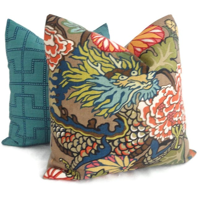 Asian Schumacher Chiang Mai Dragon Pillow Cover For Sale - Image 3 of 6