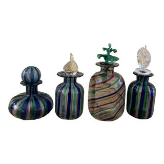 Murano Venetian Glass Perfume Bottles - Set of 4 For Sale