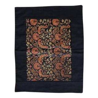 Vintage Asian Embroidered Silk Textile For Sale