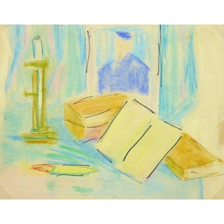 Vintage French Ink and Pastel - Tablescape For Sale