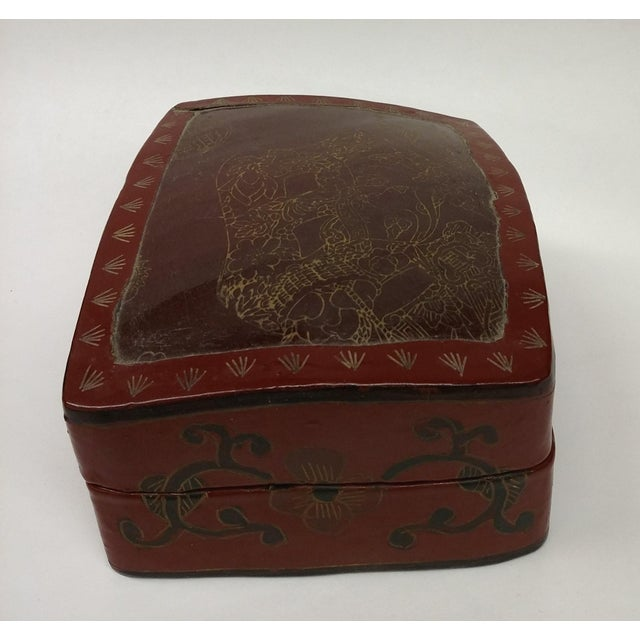 Large Chinese Red Lacquered Porcelain Lidded Box - Image 11 of 11