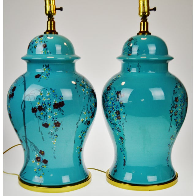 Vintage Large Scale Aquamarine Blue Hand Painted Asian Ginger Jar Lamps - A Pair - Image 5 of 11