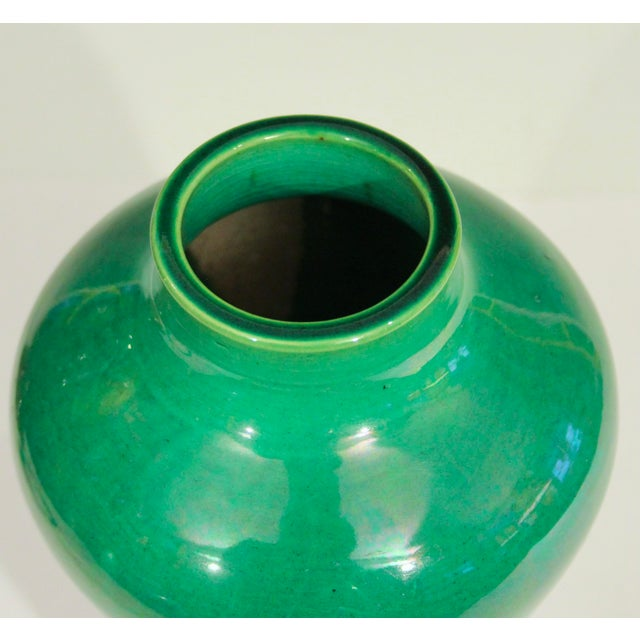 Green Antique 1910s Awaji Art Nouveau Studio Pottery Meiping Organic Green Monochrome Vase For Sale - Image 8 of 11