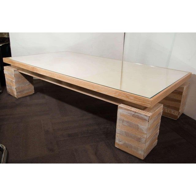 Monumental Limed Oak Coffee Table in the Manner of Paul Dupré-Lafon For Sale - Image 4 of 11