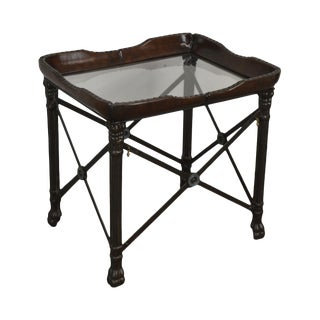 Regency Style Wrought Iron Leather & Glass Top Side Table For Sale