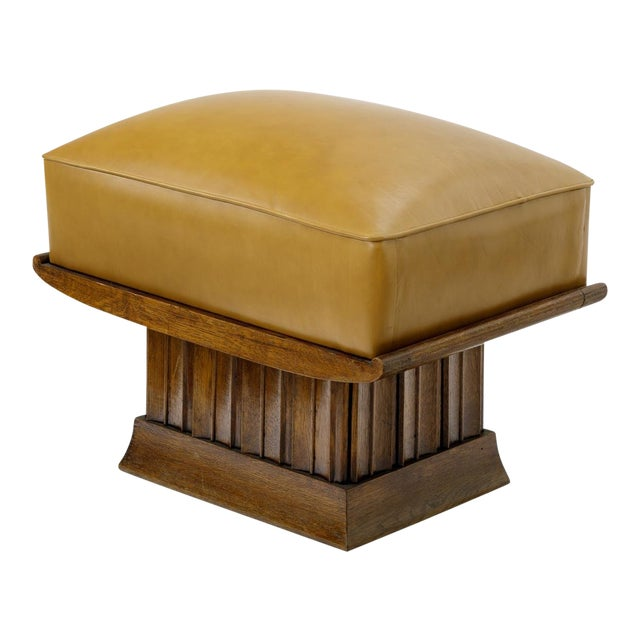 Alfred Porteneuve Superb Stool With an Oak Carved Base and Leather Cover For Sale