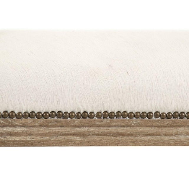 French Country Orchards Cowhide Bench in Tan For Sale - Image 3 of 4