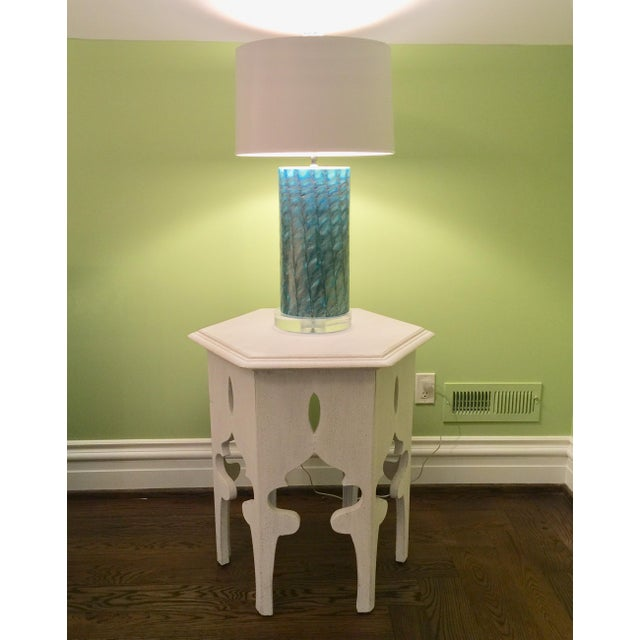 Moroccan Style White Wooden End Tables - a Pair - Image 9 of 10