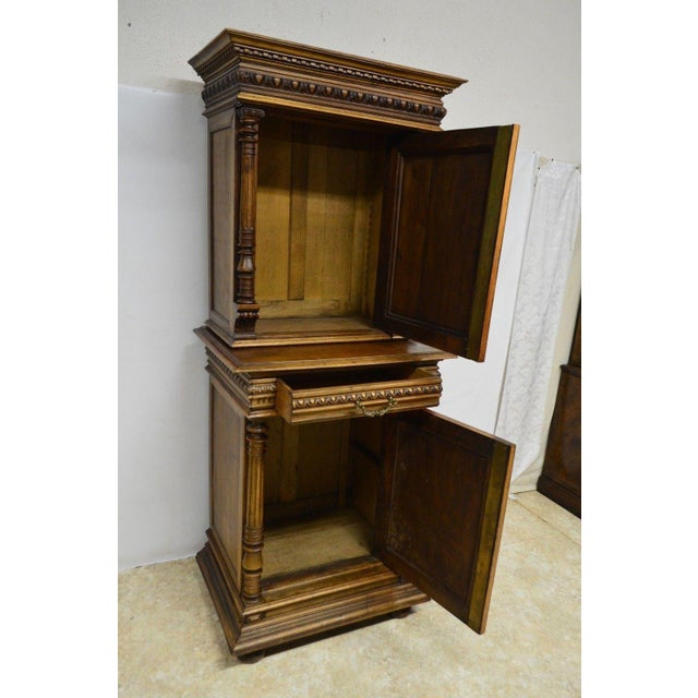 Antique 1800's Carved Walnut Pantry Cabinet For Sale - Image 4 of 11