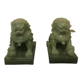 1970s Asian Faux Jade Foo Dog Bookends - a Pair For Sale