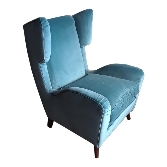 These wingback chairs will catch the eye of any visitor with its teal velvet color fabric, as well as compliment any room...