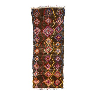 Vintage Berber Moroccan Carpet Runner with Bohemian Style For Sale