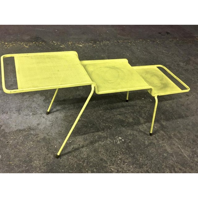 Yellow Mathieu Mategot Coffee Table in Yellow Painted Iron and Rigitule For Sale - Image 8 of 8