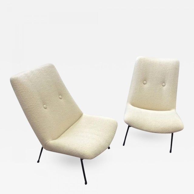 Pierre Guariche Pair of Armchairs Model SK660 Newly Covered in Chevron Alpaca.