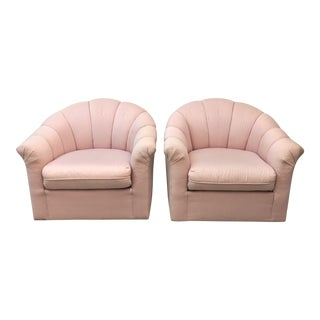 1980s Modern Bernahrdt Channel Tufted Swivel Chairs- A Pair For Sale