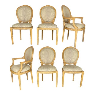 Vintage Faux Bois Dining Chairs - Set of 6 For Sale
