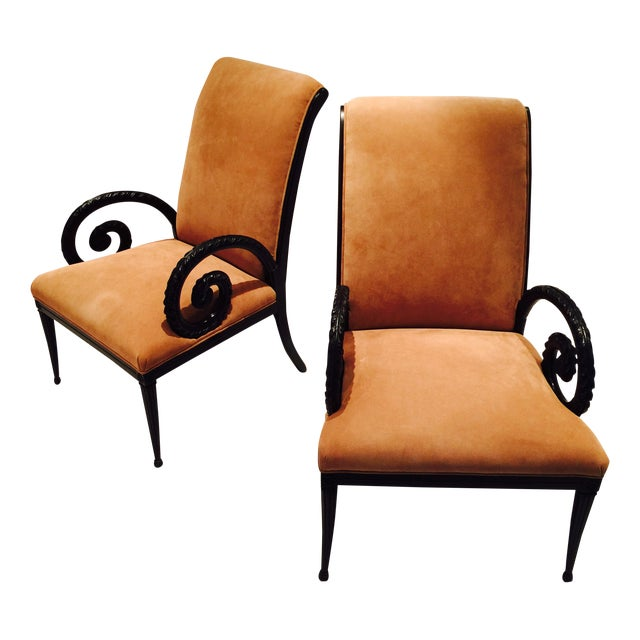 Grosfeld House Style Suede Chairs - A Pair - Image 1 of 7