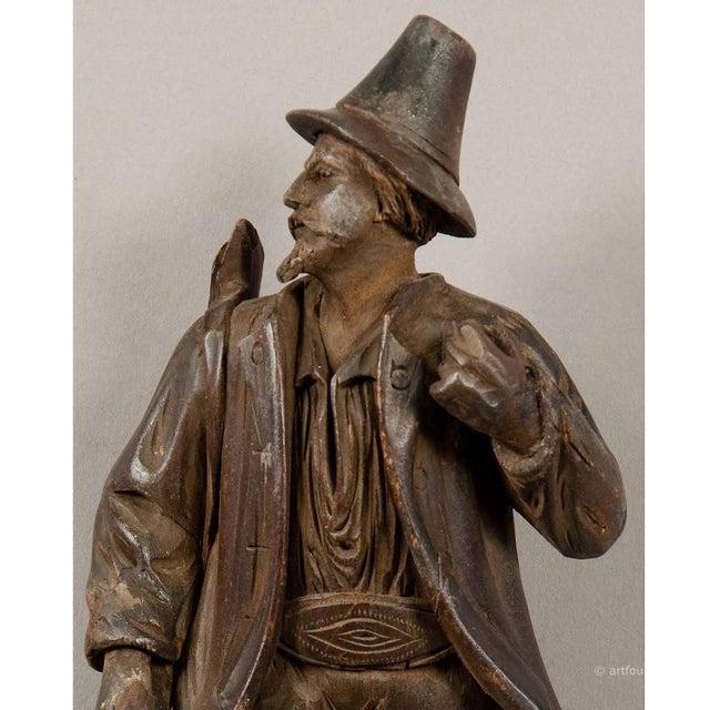 Black Forest Carved Wood Hunter Whip Holder 1890 For Sale - Image 3 of 5