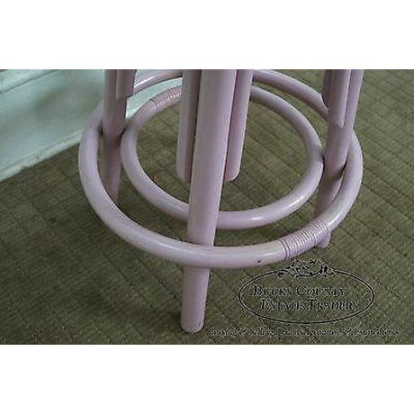 Clark Casuals Vintage Set of 4 Painted Rattan Bar Stools For Sale In Philadelphia - Image 6 of 13