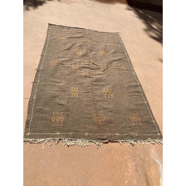 Textile Moroccan Vintage Flat-Weave Brown Rug For Sale - Image 7 of 13