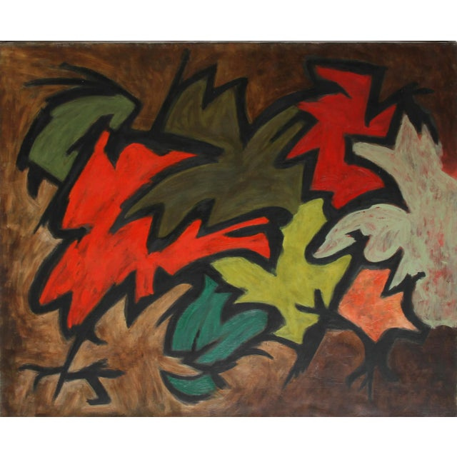 Abstract Laurent Marcel Salinas, Untitled - Abstract in Reds and Greens, Oil on Canvas For Sale - Image 3 of 3
