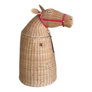 Vintage Wicker Horse Hamper For Sale