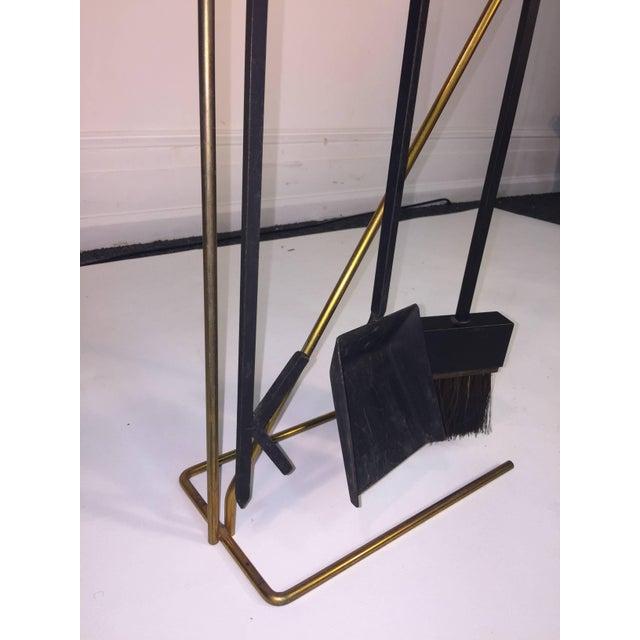 1950s Mid-Century Modern Brass and Black Iron Modernist Firetool Set For Sale - Image 5 of 7