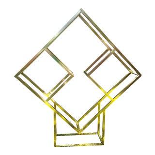 Milo Baughman Attributed Brass Diamond Shape Étagère