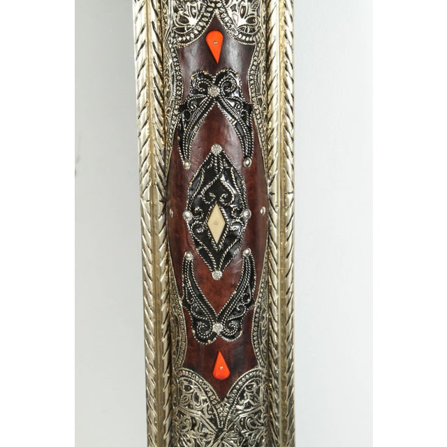 Mid 20th Century Moroccan Mirrors With Silvered Metal and Leather Wrapped - a Pair For Sale - Image 5 of 10