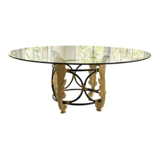 Hollywood Regency Drexel Glass Round Top Dining Table For Sale