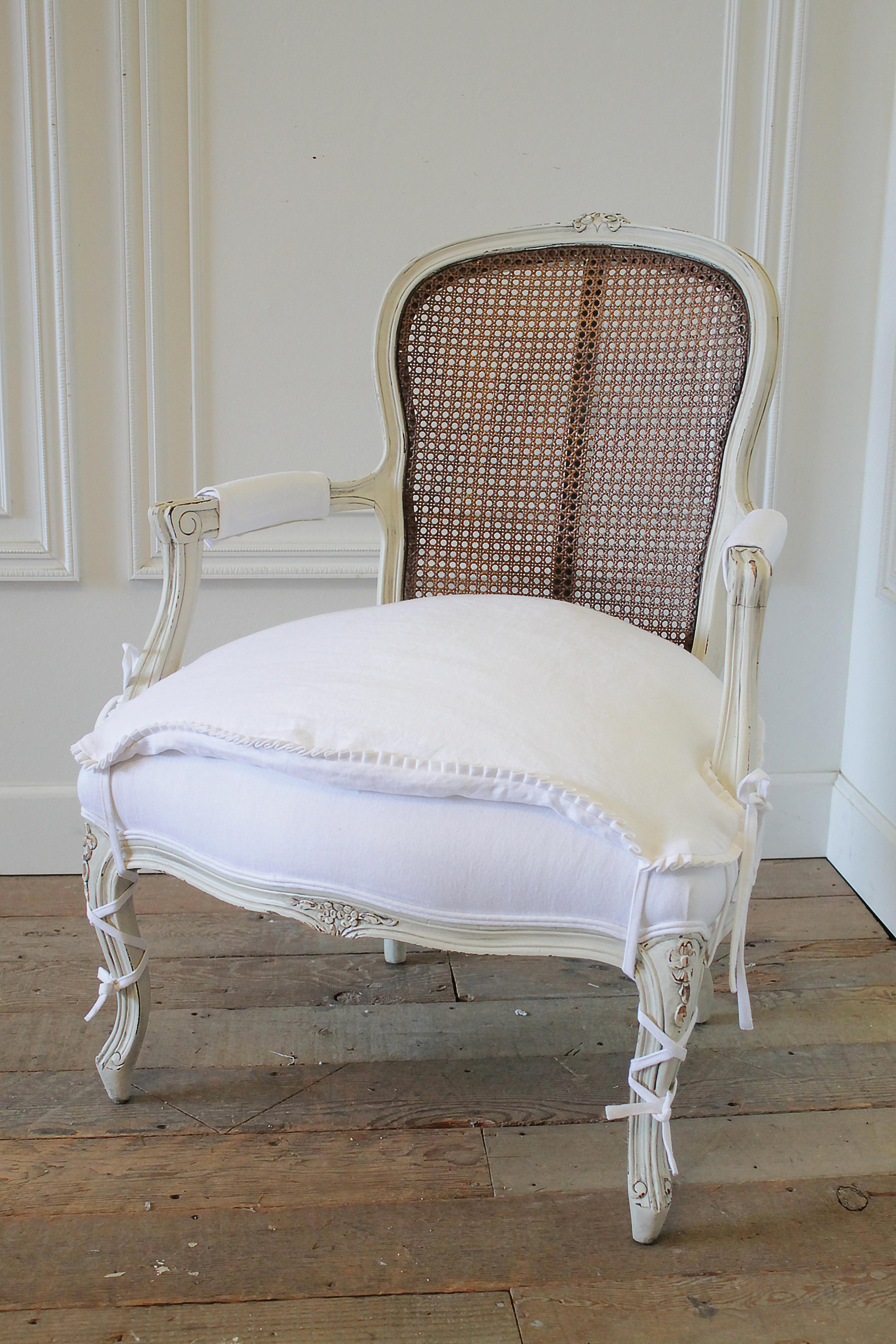 20th Century French Cane Back Open Arm Chair With Linen Slip Cover 20th  Century French Cane