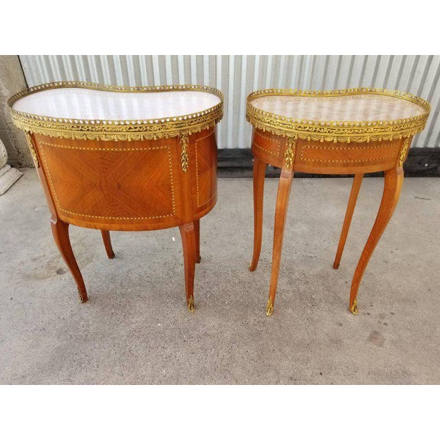 Louis XV Style End Marble Top Tables or Nightstands - a Pair For Sale In San Francisco - Image 6 of 7