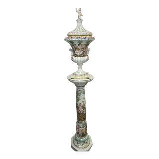 Rare Tall Italian Capodimonte Vase & Pedestal High Relief Putti Set For Sale