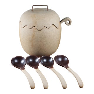 1970s Taylor & Ng Stoneware Acorn Soup Tureen + Ladle and Spoons - Set of 6 For Sale